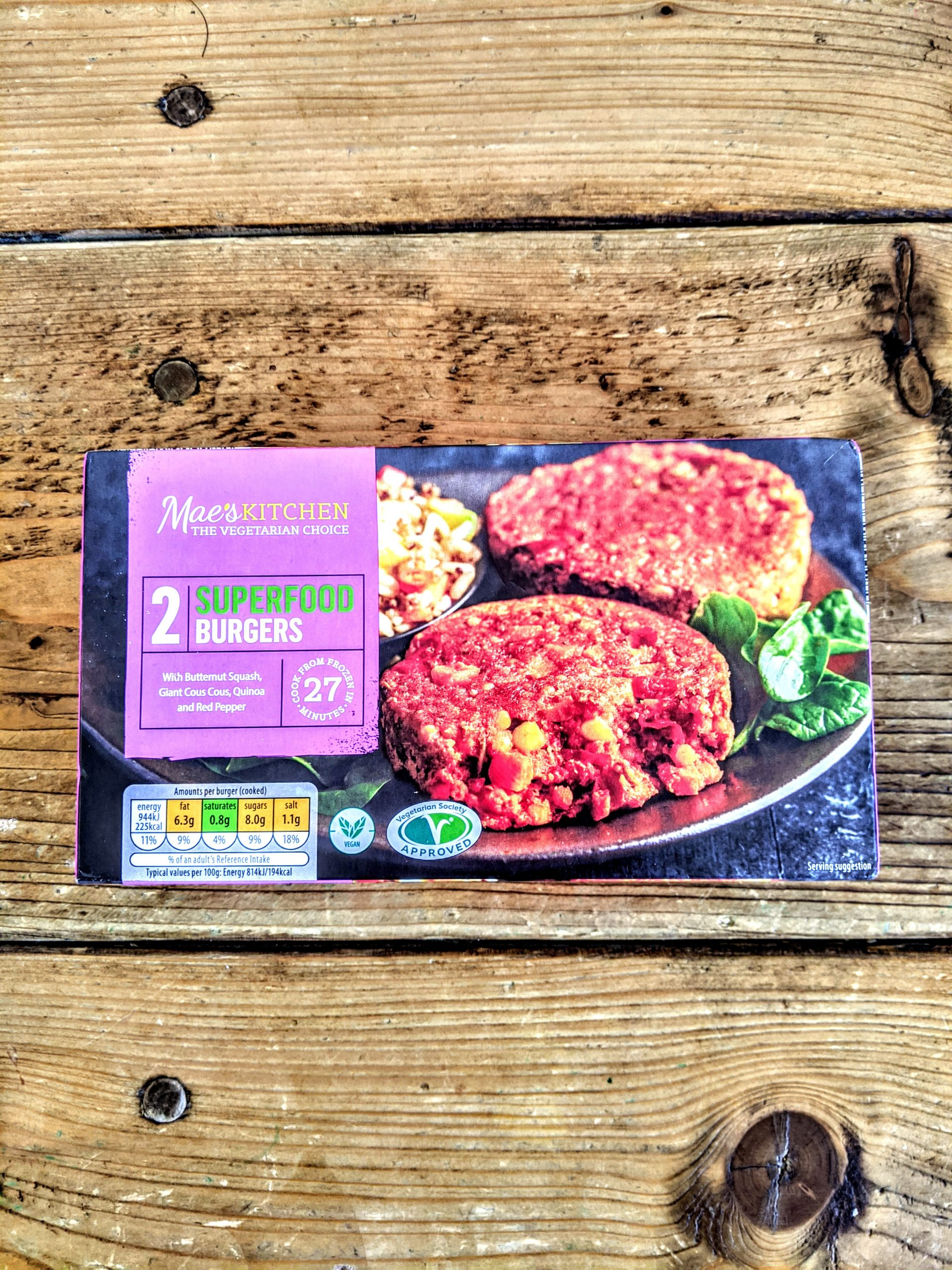 Mae's Kitchen Vegetarian 2 Superfood Burgers
